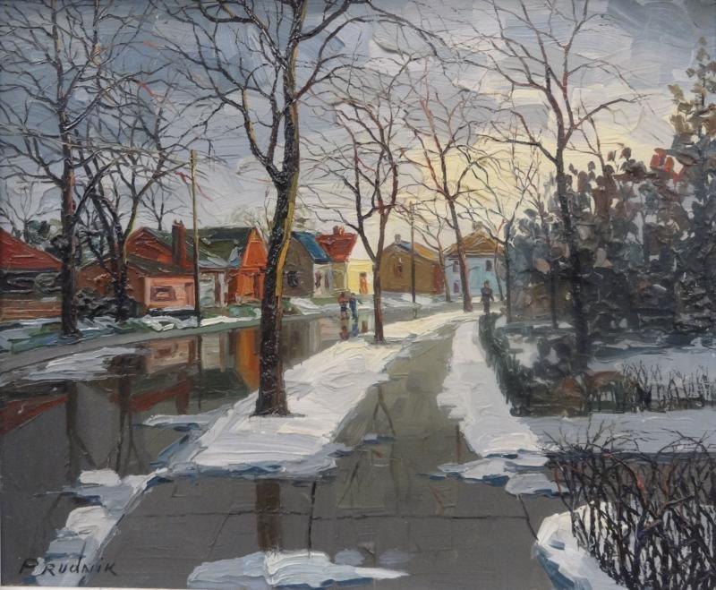 20: PRUDNIK, J. Oil on Canvas French Street Scene.