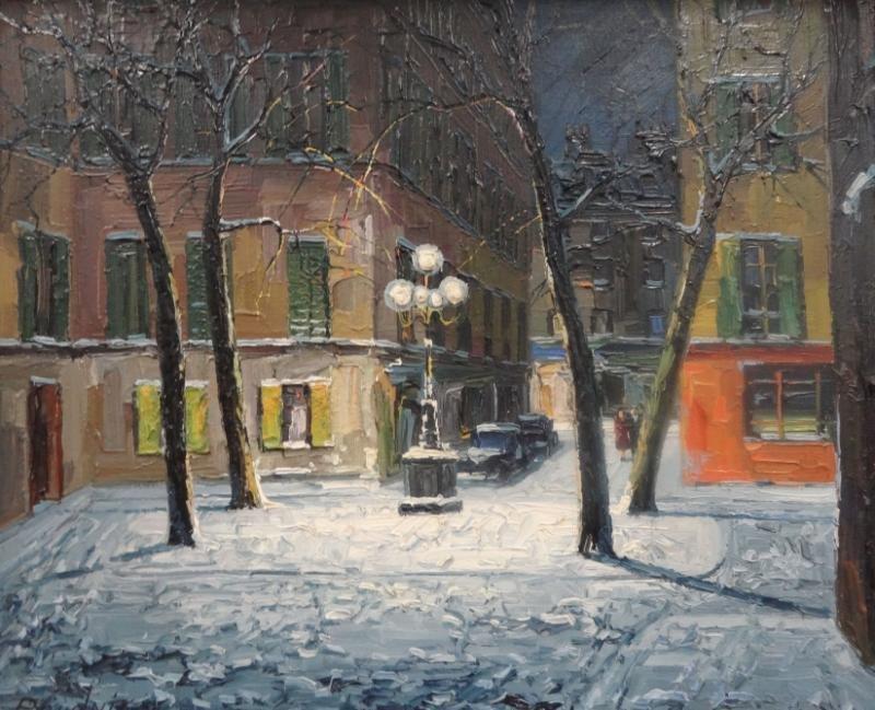 21: PRUDNIK, J. Oil on Canvas French Street Scene.