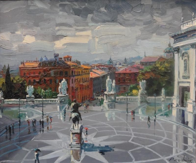 22: PRUDNIK, J. Oil on Canvas Scene of a European