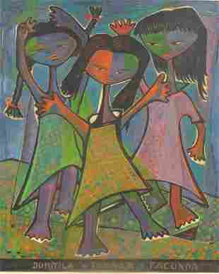 60: BOTELLO, Angel. Oil on Wood Panel of 3 Young Girls