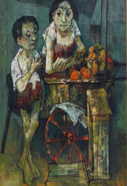 75: JANSEM, Jean. O/C of Mother & Child Fruit Vendors.