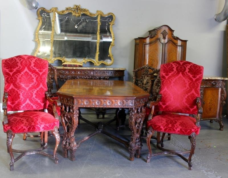 77: Baroque 9 Piece Inlaid, Carved & Marbletop Dining