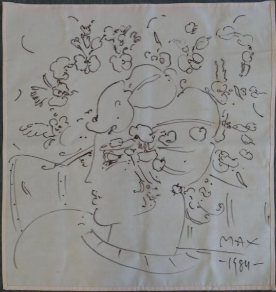 2: MAX, Peter. Original Illustration on Cloth Napkin.
