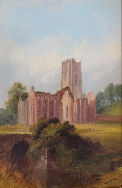 7: JACOBI, M.M. Oil on Canvas of a Church.
