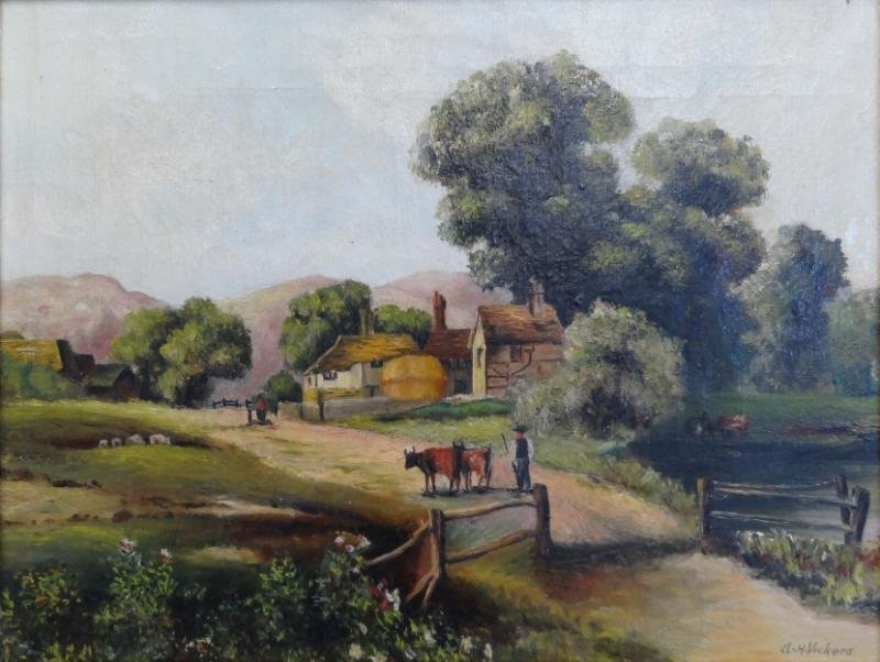 8: VICKERS, Alfred H. Oil on Canvas. Country Scene