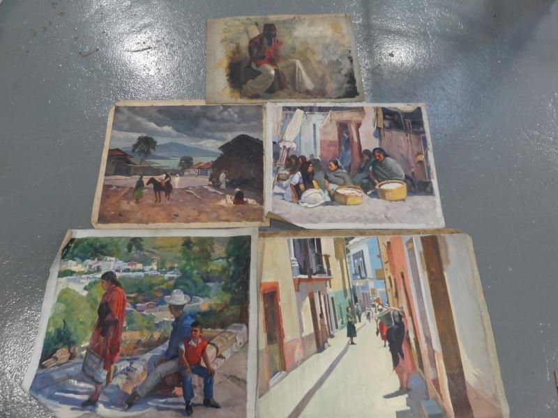 12: NEWMAN, Joseph. 5 Oils on Canvas. As is.