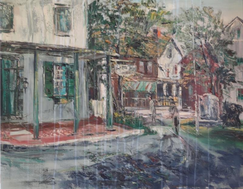 14: SOBESSEK, Stanley. Oil on Canvas Street Scene.