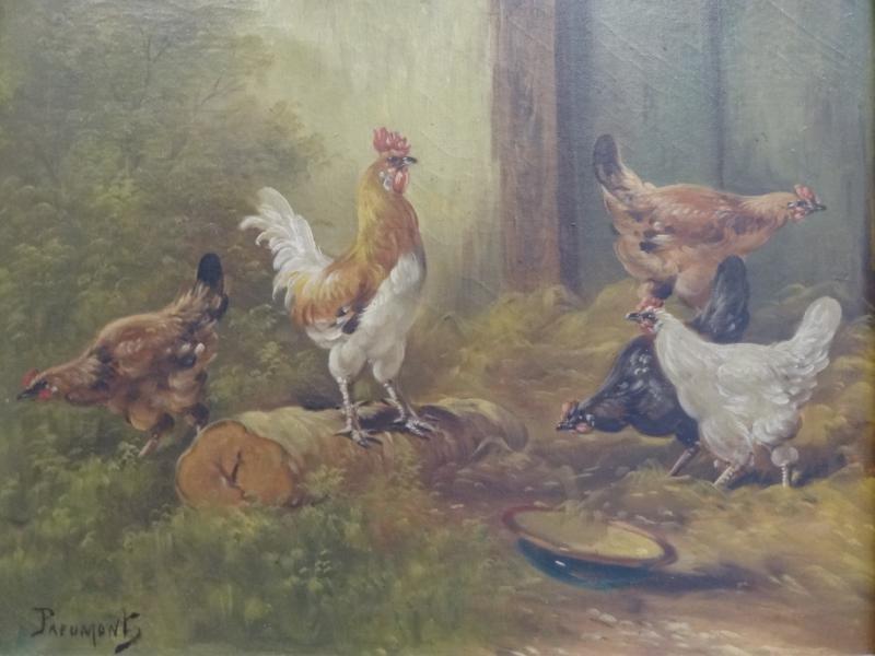15: PREUMONT. Oil on Canvas of Feeding Fowl.