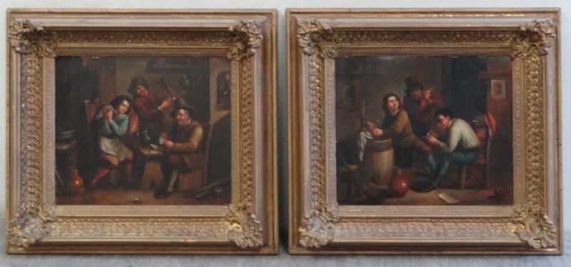 18: Pair of 19th C. Oil on Tin Tavern Scenes.