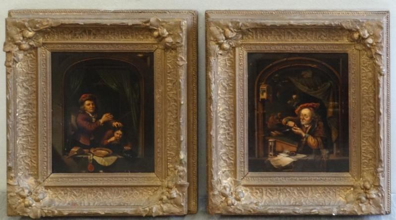 19: Pair of 19th C. Oil on Tin Genre Scenes.
