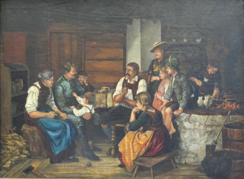 """20: Unsigned Oil on Canvas """"A Soldiers Family Reunion"""""""