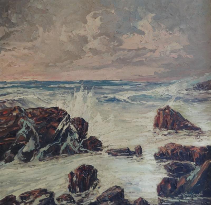 21: GECHTOFF, Leonid. Large Oil on Masonite Seascape.