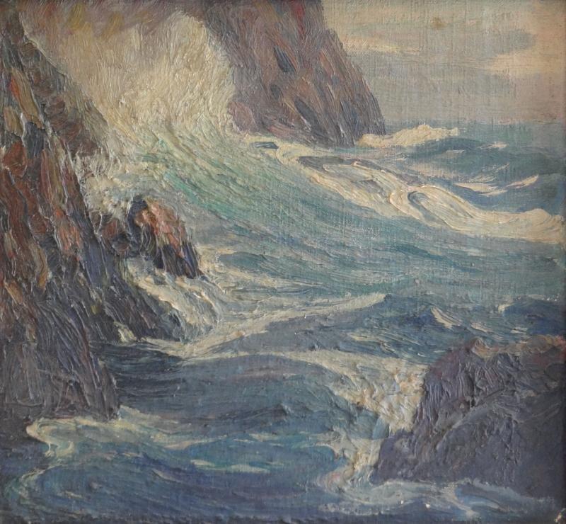22: PERKINS, Parker S. O/B Coastal Seascape.