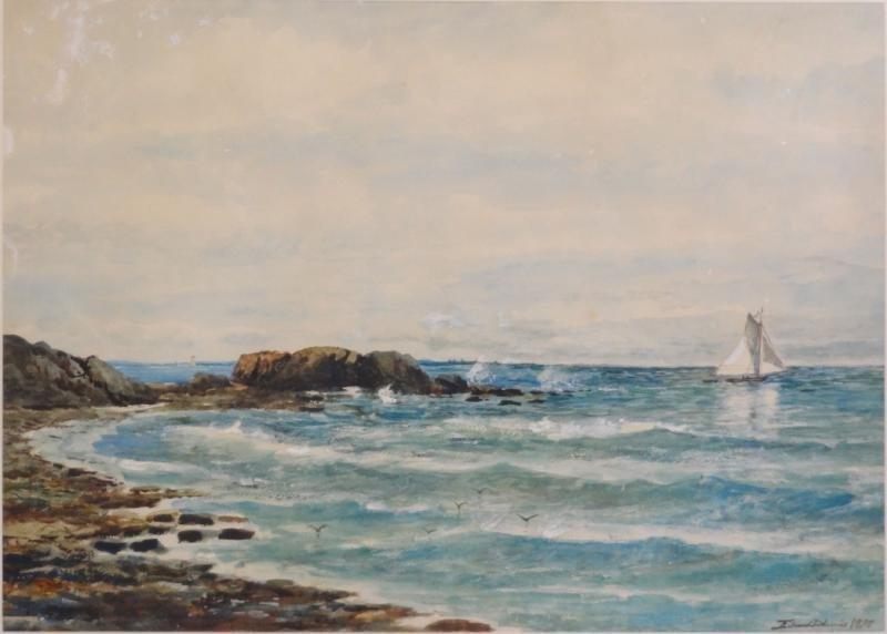 23: LEWIS, Edmund Darch. 1898 W/C Coastal Seascape.