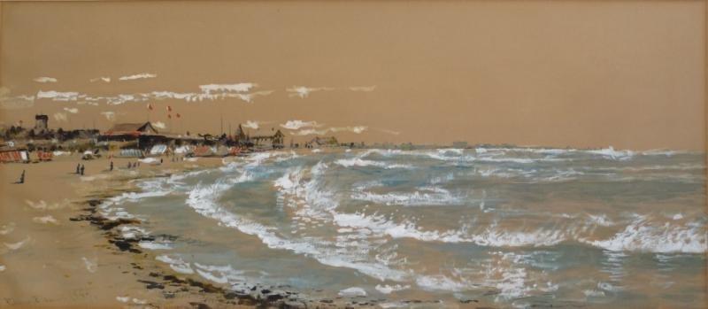 24: LEWIS, Edmund Darch. 1889 Watercolor Beach Scene.