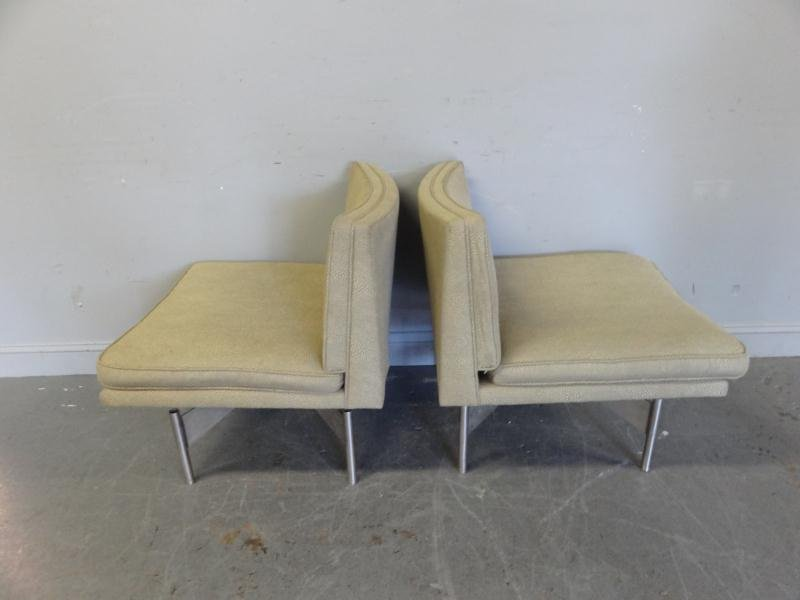 106: Pair of Midcentury Chairs with Aluminum Bases.