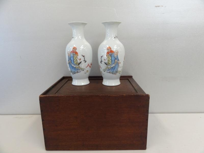 341: A Pair of Chinese Porcelain Vases in Fitted Box.