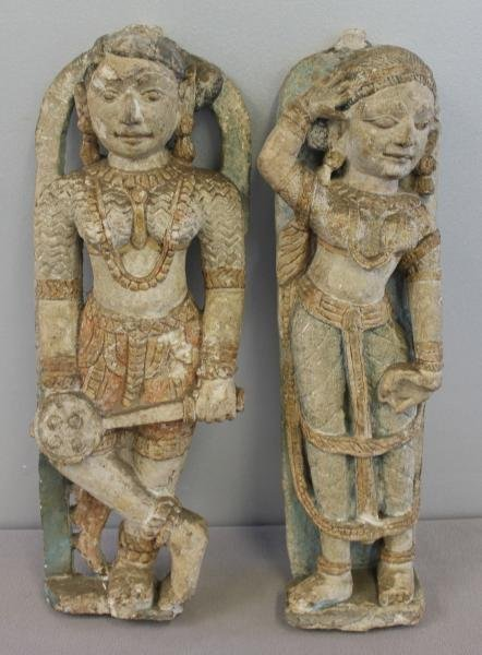 1: Pair of Carved or Cast Stone Indian Figures with
