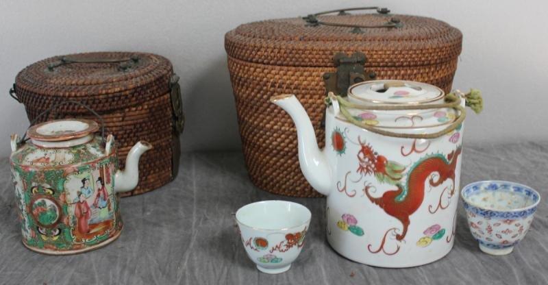 7: 2 Chinese Porcelain Tea Pots in Vintage Baskets.