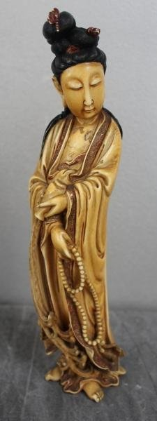 8: Asian Ivory of a Woman Holding Beads.