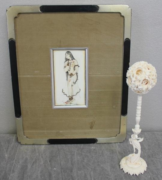 9: Framed Indian Painting on Bone with an Ivory