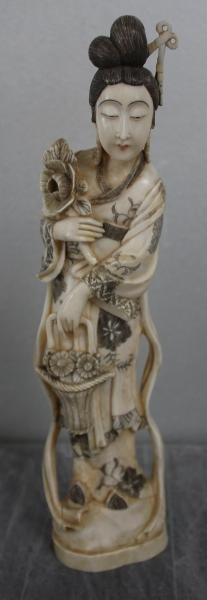 11: Signed Asian Ivory of a Woman with Flowers &