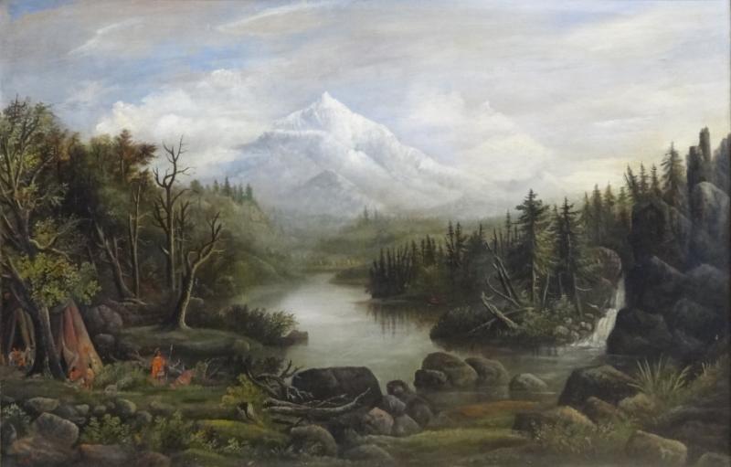 Signed 19 Cent  Hudson River? O/C Landscape W/ Indians