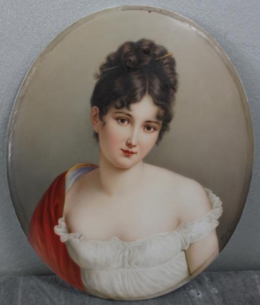 168: K.P.M. Porcelain Plaque of a Beauty. Signed Wagner