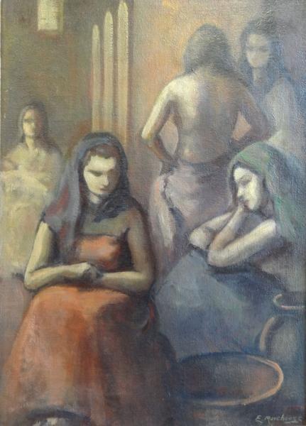 3: MOREHOUSE, Edith. Oil on Burlap of Female Figures.