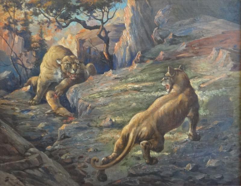 5: LOW, Gilman. 1924 O/C of Battling Mountain Lions.