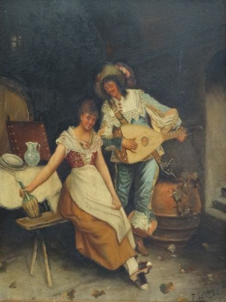 8: LENDIG, F. Oil on Panel of a Courting Couple.
