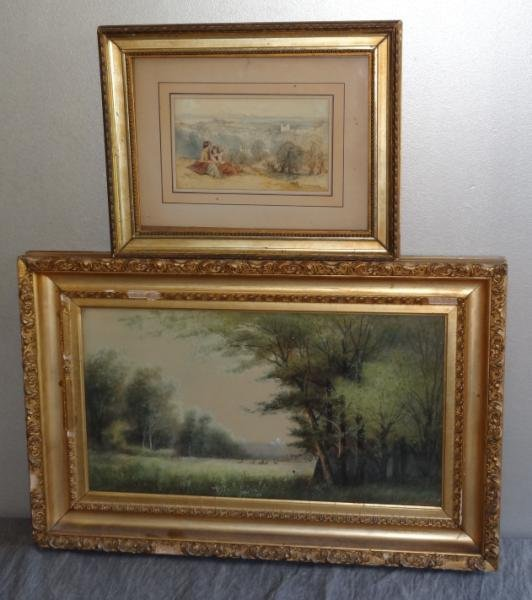 9: Two Works on Paper. P. Parsons W/C Landscape with