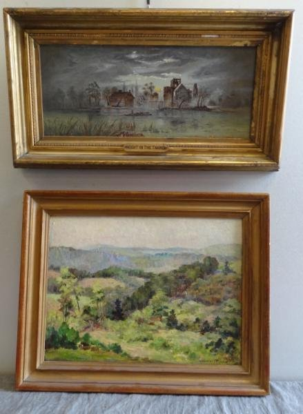 11: Two Oils. THOYER Landscape & REEVES Moonlit Scene.