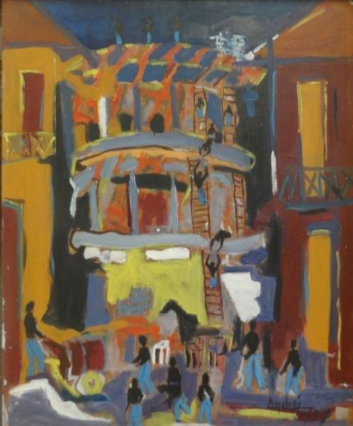 "20: BOUCARD, Andre. 1958 Oil/Masonite ""Constructions"