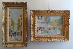 CAGLIANI, Luigi. 2 Impressionist O/C Street Scenes