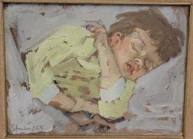 AMADORI, Eugenio. Oil On Canvas Of Sleeping Child.