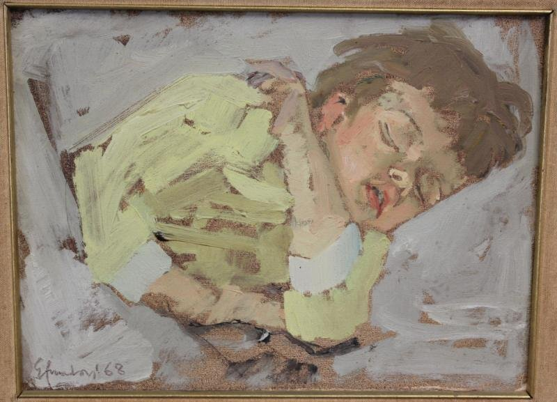 25: AMADORI, Eugenio. Oil on Canvas of Sleeping Child.