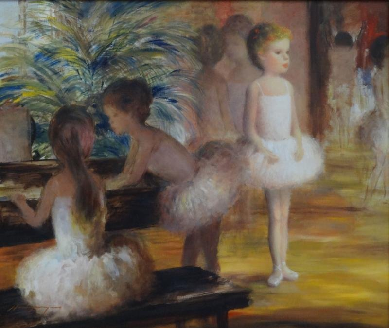 26: MYERS, Harry. Oil on Canvas of Young Ballerinas.