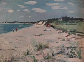 CIKOVSKY, Nicolai. Oil/Canvas/Board Beach Scene.
