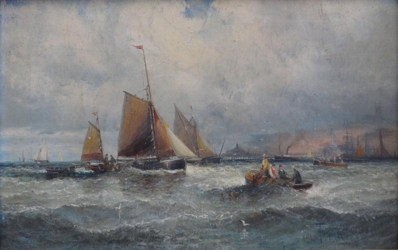 35: THORNLEY. Oil on Canvas Marine Scene with Fishing