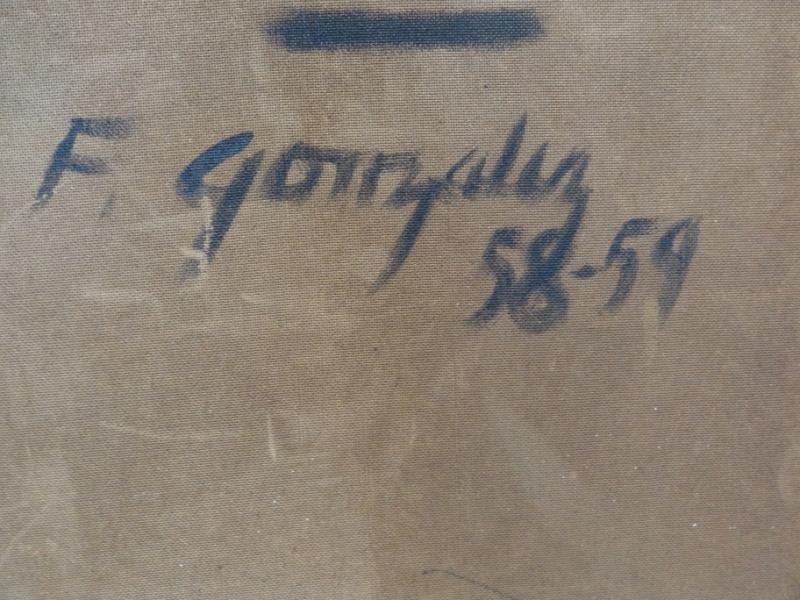 """40: GONZALEZ, Frank. Oil/Masonite """"Dama de Sociedad."""" - 6"""