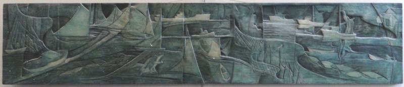 43: SMITH, Vernon. Midcentury Bas Wood Relief Carving