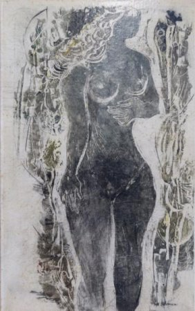 "SOLOMAN, Syd. 1957 Clay Cut Litho ""Young Girl."""