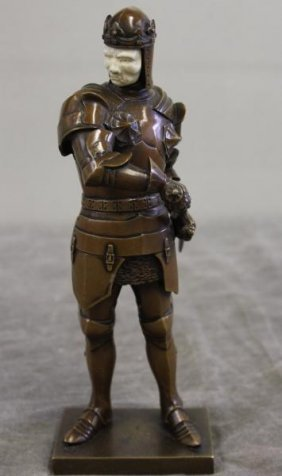 Bronze Knight In The Style Of Chiparus With Ivory