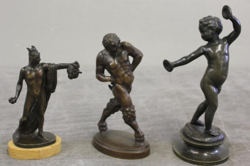 89: Lot of 3 Bronzes Including a Child Playing Cymbals