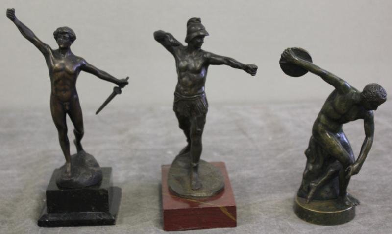 93: Lot of 3 Bronzes Including Discus Thrower