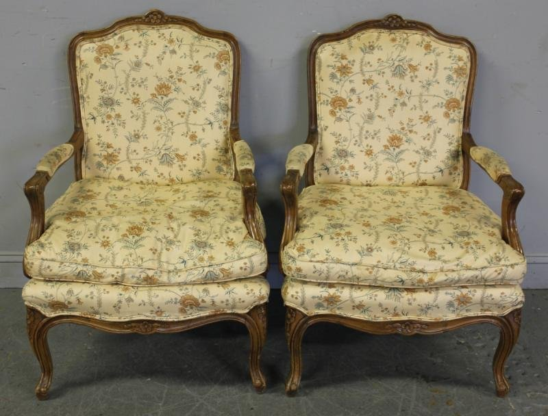 102: Pair of French Upholstered Open Arm Chairs.