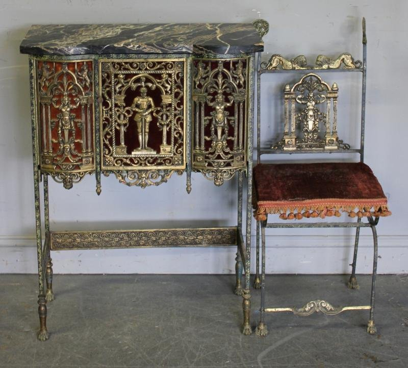 104: Art Deco Bronze and Marble Top Telephone Table