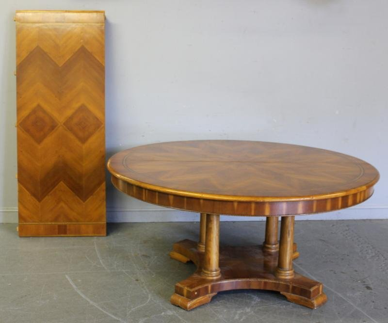 106: Large Yew Wood Pedestal Dining Table.