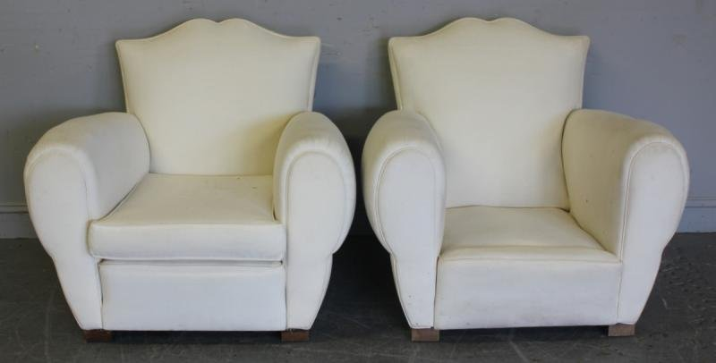 111: Pair of French Upholstered Club Chairs.